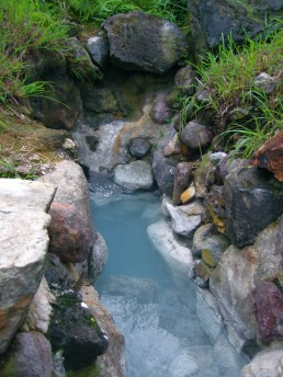 This water had much minerals in it, hence its color. Beppu, Japan.