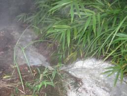 Onsen water running in Bappu, Japan.
