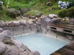The water in the onsen is rich with minerals.