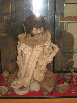 An Inca mummy at a little museum in Pucará, Peru.