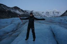 Here's me in Svínafellsjökull glacier with an ice axe in my hand and crampons on my feet.