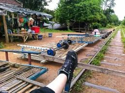 On the bamboo train station in Battambang, Cambodia