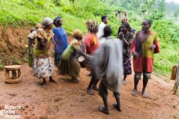 Batwa tribal welcome dance in Bwindi Impnenetrable Forest, Uganda