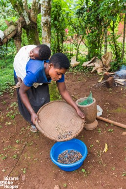 A Batwa woman making coffee in Bwindi Impenetrable Forest National Park, Uganda