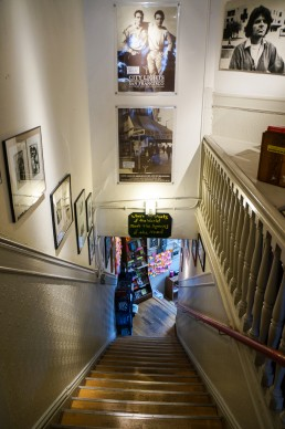 Beatnik posters on the staircase, City Lights Bookstore, San Francsico