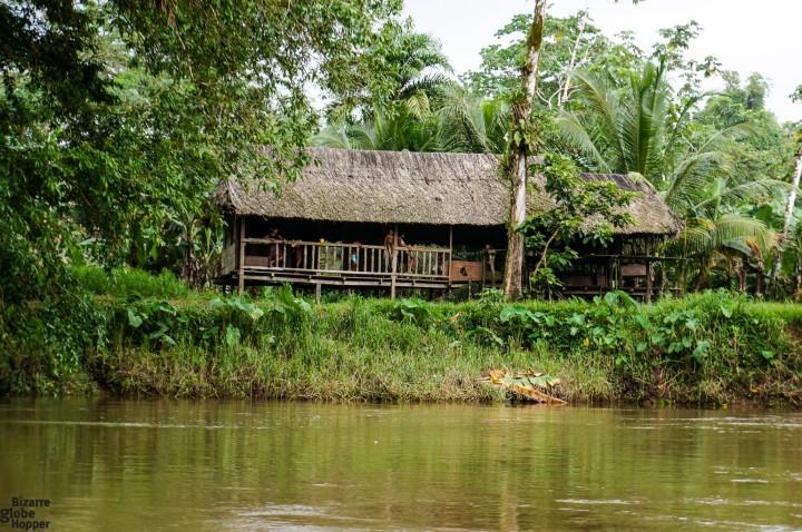A bigger Rama house along the river, deep in the jungle of Indio Maíz, Nicaragua