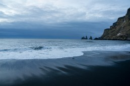 Black sand beach and the Raynarsdjangar of Vik, Iceland