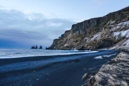 Black sand beach and Raynarsdjangar (troll fingers) in Vik, Iceland