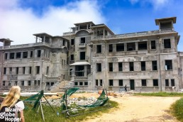 The old Bokor Palace and Casino under renovation in Bokor Hill Station, Cambodia