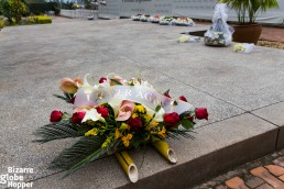 Bouquets outside the Genocide Memorial Center in Kigali, Rwanda