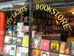 The window of the City Lights Bookstore, North Beach, San Francisco