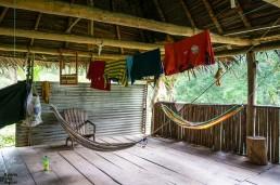 The communal area of a traditional Rama house. Indio Maíz, Nicaragua
