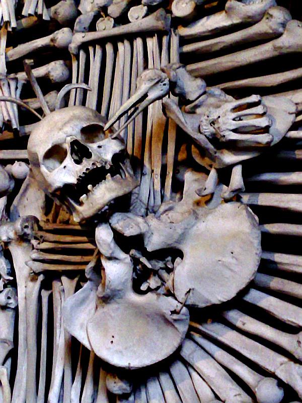 crescentr of bones, Kutna Hora, Czech Republic, bone church