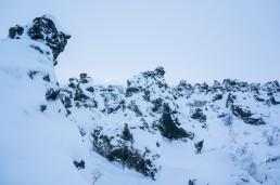 Strange volcanic rock formations in Dimmuborgir, Iceland