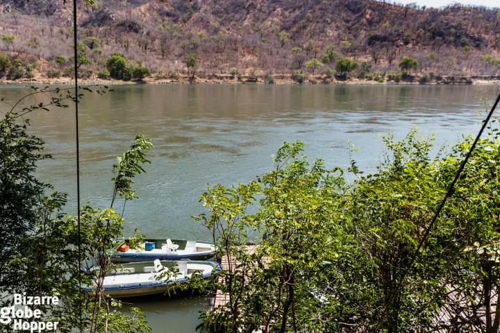 Fishing boats of Redcliff Lodge, Lower Zambezi National Park, Zambia