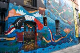 Revolutionary Chiapas mural in Jack Kerouac Alley in San Francisco