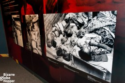 Grim pictures at the exhibition at Genocide Memorial Center in Kigali, Rwanda