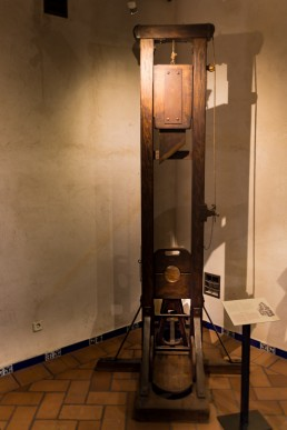 Guillotine in the torture equipment exhibition in Toledo, Spain