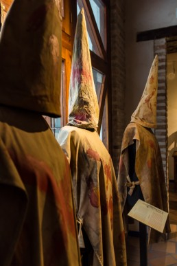 Hooded Inquisition in the torture equipment exhibition in Toledo, Spain