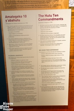 Hutu propaganda at the exhibition at Genocide Memorial Center in Kigali, Rwanda