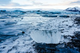 Lumps of ice in Jökulsárlón glacier lagoon, Iceland