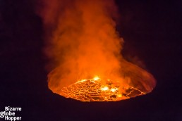 The boiling lava caldera of Nyiragongo volcano, Democratic Republic of the Congo
