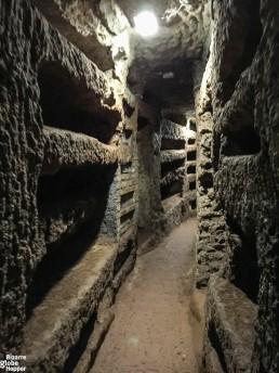 Loculis in the Catacomb of Priscilla, Rome, Italy.