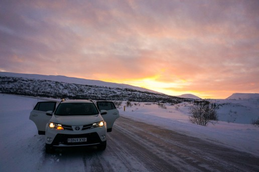 Sunrise in the Northern Iceland via Ring Road