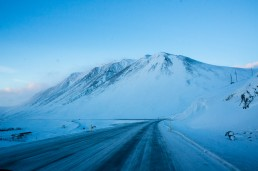 Open winter road, Ring Road, Iceland