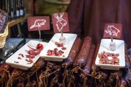 Peculiar food tastings at the Christmas market of Tallinn Old town, Estonia