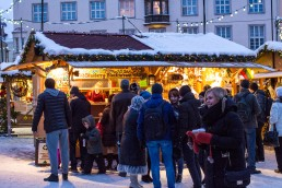 People queing at Christmas market of Tallinn Old town, Estonia