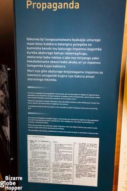 Propaganda at Genocide Memorial Center in Kigali, Rwanda