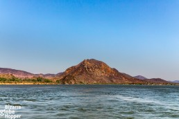 Some of the red cliffs from boat in Lower Zambezi National Park, Zambia