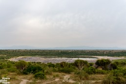Salt Lake from the deck of Kasenyi Safari Camp in Queen Eizabeth National Park, Uganda