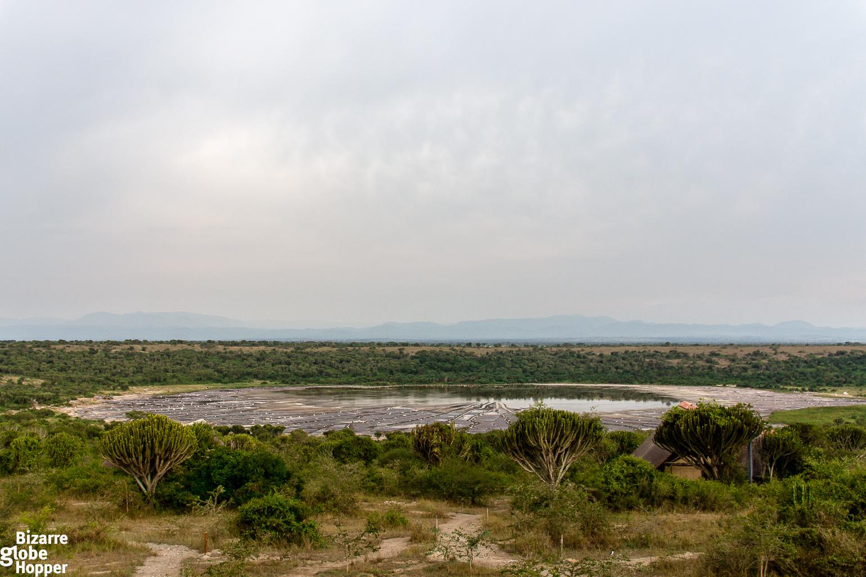 Salt Lake from the deck of Kasenyi Safari Camp in Queen Eizabeth National Park, Uganda