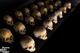 Skulls of victims at Genocide Memorial Center in Kigali, Rwanda