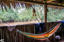 Sleeping hammock in a Rama house, Reserva Biológica Indio Maíz, Nicaragua