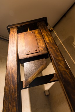 The blade of the guillotine in the torture equipment exhibition in Toledo, Spain