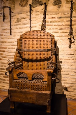 Chair with spikes in the torture equipment exhibition in Toledo, Spain