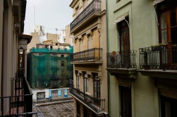 View from our apartment in El Carmen to a small square occupied by street vendors on Sundays