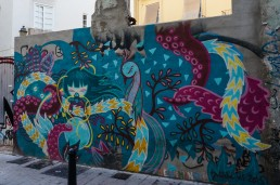 Mural by street artist Julieta from the streets of El Carmen, Valencia
