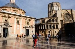 Plaza de la Virgen in the middle of El Carmen neigborhood, Valencia