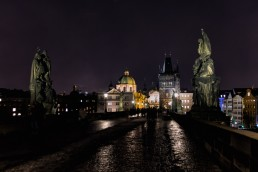 Night on Charles Bridge in Prague, Czech Republic.