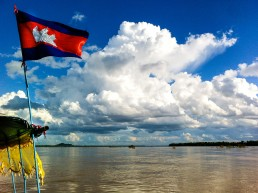 Searching for the Irrawaddy dolphins on the Mekong river in Kampi, Cambodia.