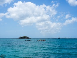 Sailing towards Kinasi Pass Coral Gardens in Chole Bay, Mafia Island Marine Park