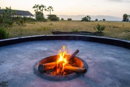 Camp fire at Maramboi tented camp, Tarangire National Park, Tanzania
