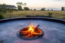 Camp fire at Maramboi tented camp, Tarangire National Park, Tanzania