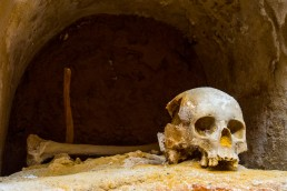 Monk's skull in a medieval funeral crypt in Cartagena, Spain