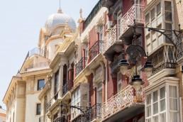 The ornamental balconies of Cartagena, Spain