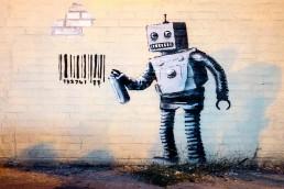 A Banksy piece on Stillwell Av in New York City, USA